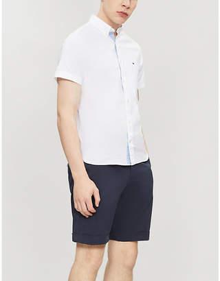 Tommy Hilfiger Logo-embroidered slim-fit cotton Oxford shirt