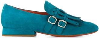 Santoni double buckle fringe loafers