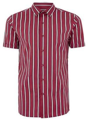 Topman Mens Red Burgundy Stripe Muscle Short Sleeve Shirt
