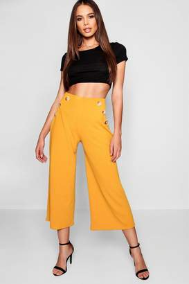 boohoo Tall Horn Button Detail Crepe Culottes