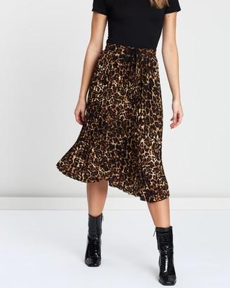 Atmos & Here Animal Pleated Midi Skirt