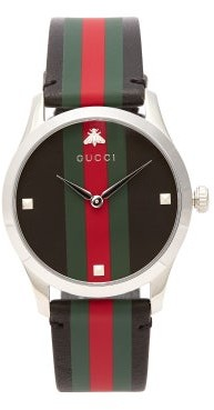 Gucci G Timeless Web Striped Leather Watch - Mens - Black Silver