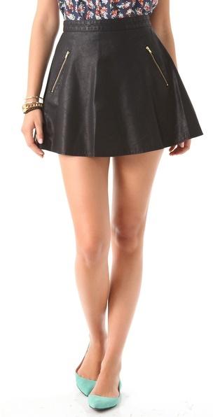 Free People Vegan Leather Circle Skirt