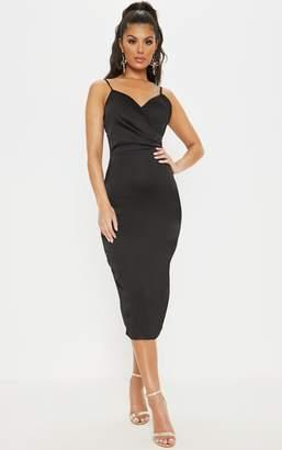 PrettyLittleThing Black Satin Wrap Front Midi Dress