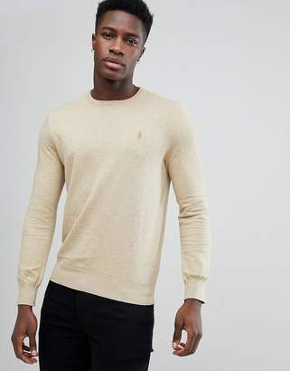 Polo Ralph Lauren Pima Cotton Knit Jumper Crew Neck Polo Player In Beige Marl