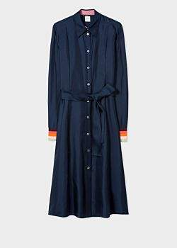Women's Navy Satin Silk Shirt Dress With 'Artist Stripe' Cuffs