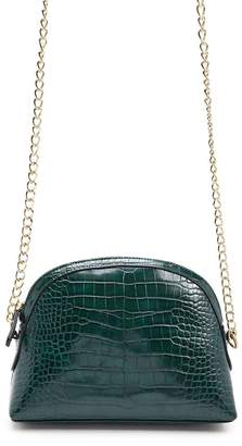 Forever 21 Crocodile Embossed Faux Leather Crossbody Bag