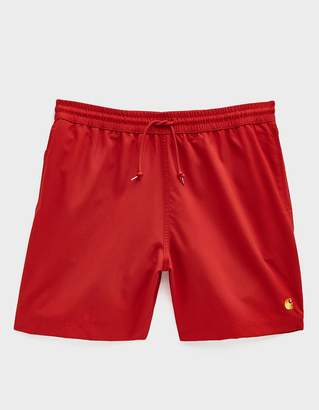 Carhartt Wip Chase Poly Swim Trunk in Cardinal/Gold