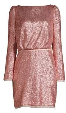Rachel Zoe Cadence Long-Sleeve Open Back Sequin Dress