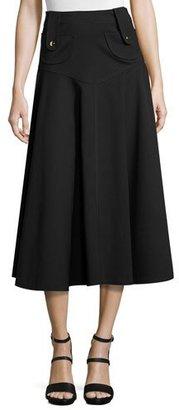 Derek Lam Button-Tab Flared Midi Skirt, Black $1,295 thestylecure.com