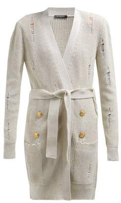 Balmain Destroyed Long Line Belted Cardigan - Womens - Ivory