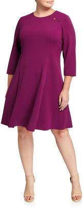 London Times Plus Size Fit-&-Flare Shoulder-Button Dress