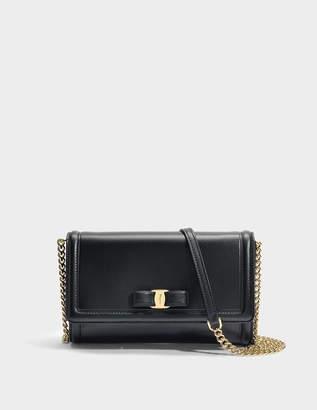 Salvatore Ferragamo Ginny Mini Bag in Black Score Leather