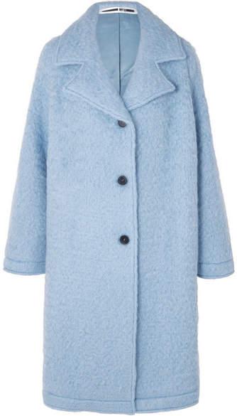 Buy Oversized Wool-blend Bouclé Coat - Sky blue!