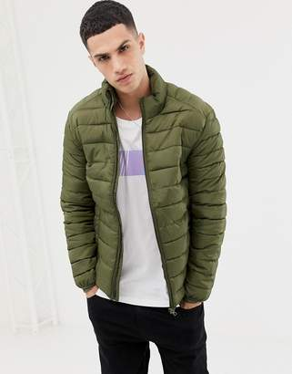 ONLY & SONS quilted jacket in khaki