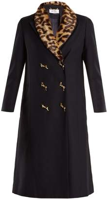 Muveil Double-breasted leopard-print collar woven coat