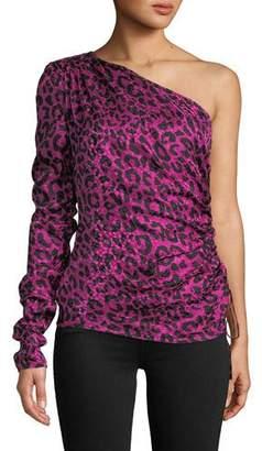 Milly Cara One-Sleeve Leopard-Print Silk Jacquard Top