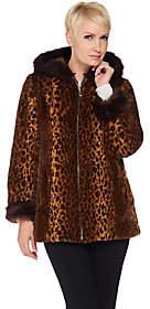 Dennis Basso Woven Animal Print Faux Fur Jacketwith Hood