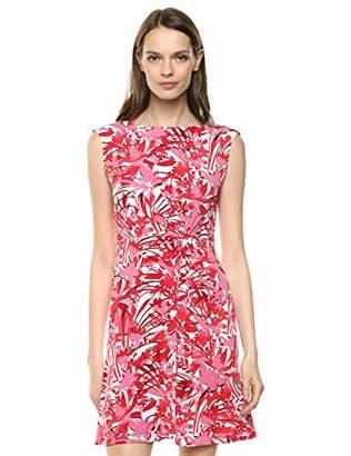 Gabby Skye Women's Cap Sleeve Round Neck Printed ITY A-Line Dress