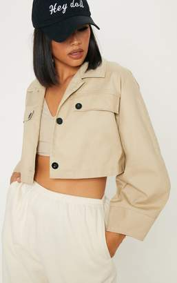 PrettyLittleThing Stone Crop Wide Sleeve Utility Jacket