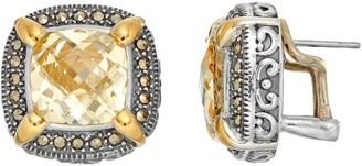 Lavish By Tjm Lavish by TJM Sterling Silver Cubic Zirconia & Marcasite Halo Stud Earrings