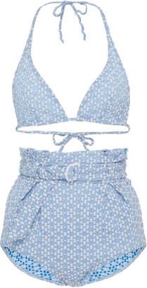 Pamela Cornflower Blue Seersucker Bikini Set