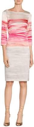 St. John Textured Brush Stroke Print Stretch Silk Charmeuse Dress