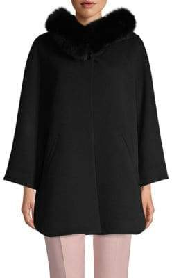 Sofia Cashmere Wool & Cashmere Fox Fur-Trimmed Hooded Coat