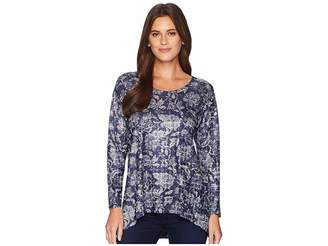 Nally & Millie Blue Floral Print Tunic Women's Blouse