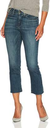 NYDJ Women's Petite Size Marilyn Straight Ankle Jeans with Raw Hem, Desert Gold