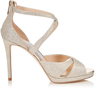 Jimmy Choo LORINA 100 Platinum Ice Dusty Glitter Sandals