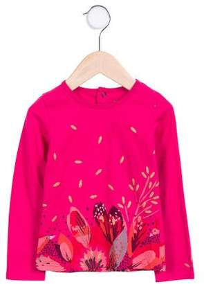 Catimini Girls' Feather Print Long Sleeve Top
