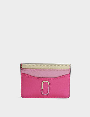 Marc Jacobs Double J Saffiano Card Case in Pink Split Cow Leather