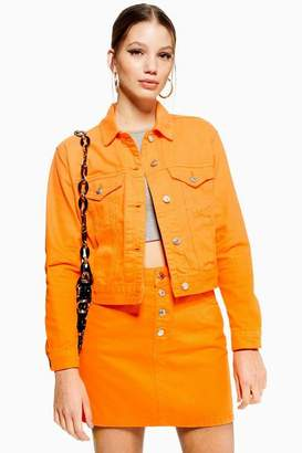 Topshop Orange Fitted Denim Jacket