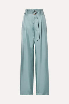 Sally LaPointe Belted Silk-satin Twill Wide-leg Pants - Gray green