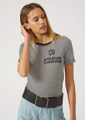 Emporio Armani Striped T-Shirt With Patches