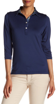 Peter Millar 3/4 Length Sleeve Print Trimmed Polo $79.50 thestylecure.com