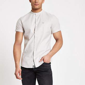 River Island Stone grandad collar stretch Oxford shirt
