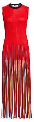 MSGM Women's Rainbow Pleated Sleeveless Dress