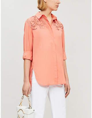Maje Floral lace-panelled cotton blouse