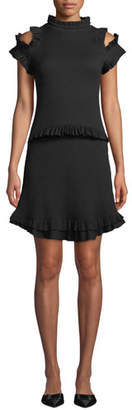 Maggie Marilyn Dreaming Of You Ribbed Ruffle Cold-Shoulder Dress