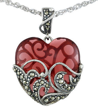Lord & Taylor Marcasite Heart Pendant Necklace $225 thestylecure.com