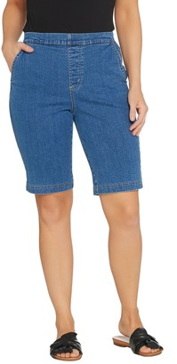 "Denim & Co. How Timeless"" Stretch Flat Front Jean Shorts"