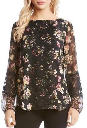 Karen Kane Floral Lace-Trim Top
