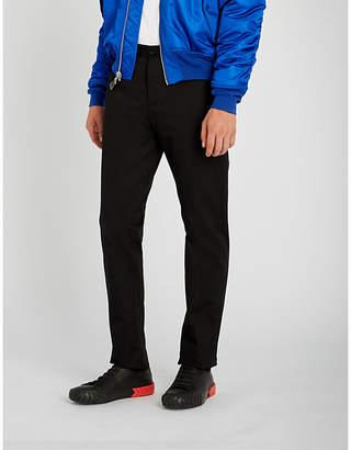 Maison Margiela PVC-trimmed regular-fit straight cotton trousers