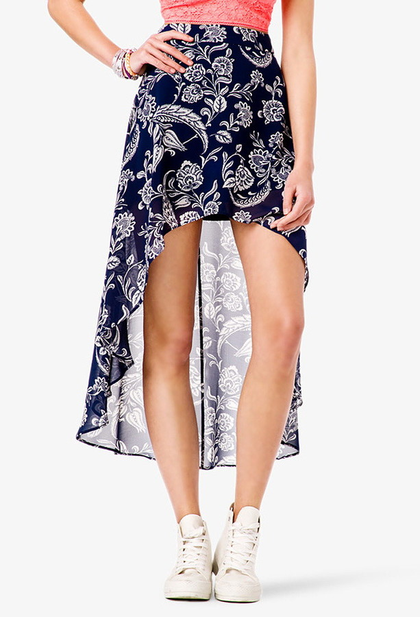 Forever 21 Paisley High-Low Skirt