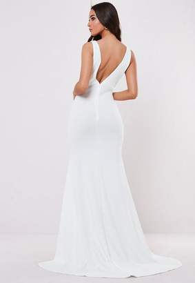 Missguided Bridesmaid White Sleeveless Low Back Maxi Dress