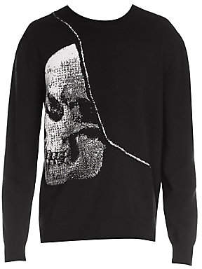 Alexander McQueen Men's X-Ray Skull Long-Sleeve Wool Sweater