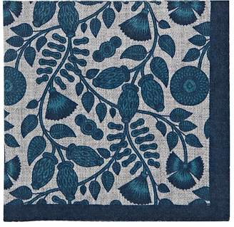 Barneys New York Men's Leaf-Print Wool Pocket Square