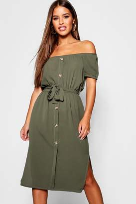 boohoo Petite Off The Shoulder Belted Midi Dress